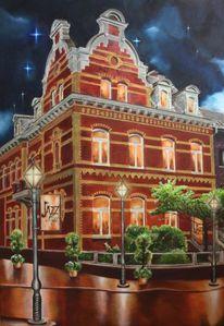 Altbau, Acrylmalerei, Jazz night, Fassade