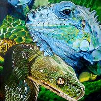 Reptil, Fotorealismus, Leguan, Schlange