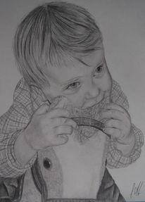 Portrait, Kind, Baby, Bleistiftzeichnung