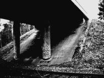 Dunkel, Brücke, Schwarz weiß, Weiß