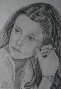 Mädchen, Portrait, Frau, Bleistiftzeichnung