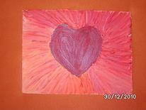 Acrylmalerei, Herz, Liebe, Leichtstrukturpaste