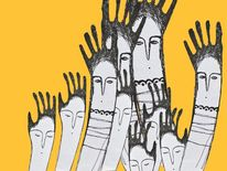 Peoples, Gelb, Stylized, Hand