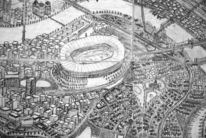 Skizze, Stadion, Grafik, Stadt