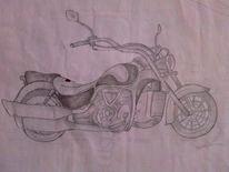 Motorrad, Schwarz weiß, Malerei, Stillleben
