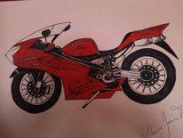 Honda, Rot, Motorrad, Illustrationen