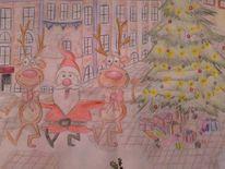 Weihnachten, Weihnachtsmann, Tannenbaum, Malerei