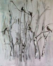 Rabe, Baum, Schwarz weiß, Vogel