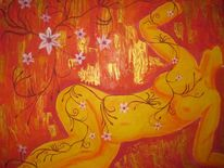 Blumen, Frau, Fantasie, Rot