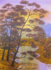 Geschenk, Acrylmalerei, Sonnenuntergang, Herbst