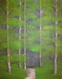 Landschaft, Baum, Acrylmalerei, Malerei