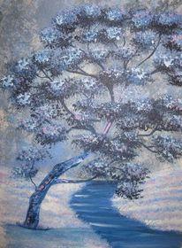 Acrylmalerei, Baum, Blau, Geschenk