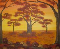 Baum, Abend, Wald, Herbst