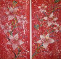 Rot, Blumen, Malerei, Pflanzen