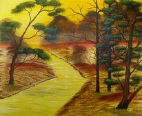Sonnenuntergang, Gelb, Natur, Fluss