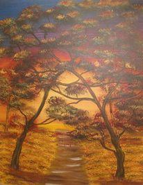 Sonnenuntergang, Landschaft, Baum, Acrylmalerei