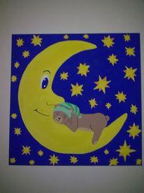 Stern, Mond, Teddy, Malerei