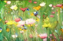 Pflanzen, Grün, Blumenwiese, Malerei