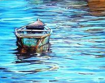 Blau, Boot, Wasser, Malerei
