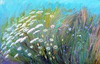 Blau, Frühlingswiese, Blumen, Gras
