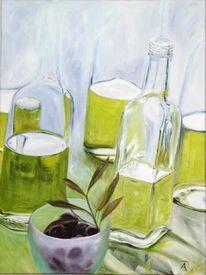 Ölmalerei, Grün, Flasche, Malerei