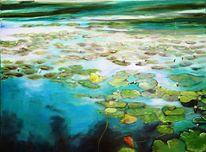 Seerosen, Wasser, Blau, Malerei