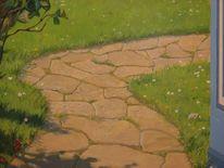 Realistische malerei, Landschaft, Wandmalerei, Landschaftsmalerei
