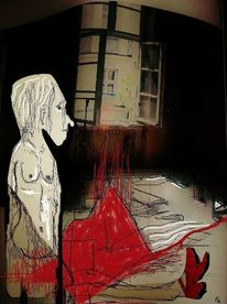 Tür, Digitale kunst, Rote schuhe, Zimmerboden
