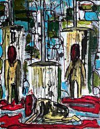 Zeichnung, Rot, Mixed media, Menschen