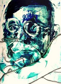 Kopf, Blau, Mixed media, Licht
