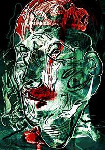 Kopf, Digital art, Mixed media, Schwarz
