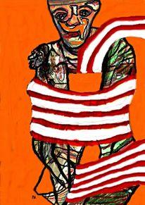 Schal, Zeichnung, Fusion, Frau