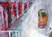 Menschen, Malerei, Stadt, Aquarellmalerei