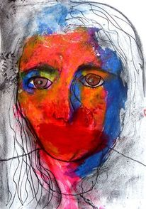 Menschen, Portrait, Frau, Kohlezeichnung