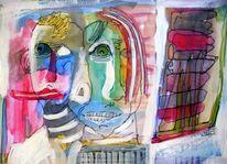 Menschen, Tusche, Aquarellmalerei, Malerei