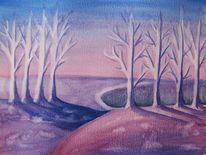 Blau, Gras, Winterlandschaft, Jahreszeiten