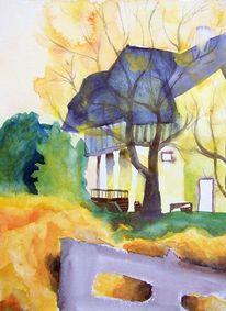 Kunsthandwerk, Orange, Landschaft, Aquarellmalerei