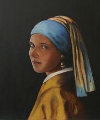 Perlenohrring, Mädchen, Portrait, Nach vermeer