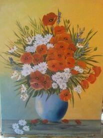 Blumenstrauß, Blumen, Ölmalerei, Mohn