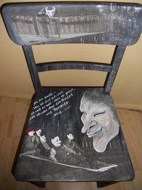 Bemalte stühle, Theater, Muse, Acrylmalerei