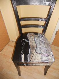 Acrylmalerei, Bemalte stühle möbelmalerei, Stuhmalerei, Freche malerei