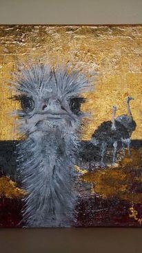 Acrylmalerei, Vogel strauß, Lustig, Blattgold