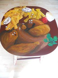 Wadenkrampf, Bemalte stühle möbelmalerei, Stuhmalerei, Acrylmalerei