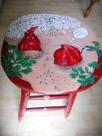 Möbel bemalt, Möbelmalerei, Stuhlmalerei, Gefüllte paprika