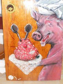 Acrylmalerei, Stuhmalerei, Schwein, Lustige malerei