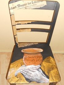 Tristan und isolde, Bemalte stühle möbelmalerei, Lustige malerei, Möbelmalerei acryl