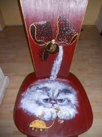 Acrylmalerei, Bemalte stühle möbelmalerei, Katze, Lustige malerei