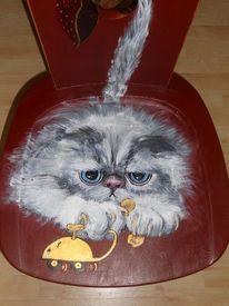 Katze, Acrylmalerei, Stuhmalerei, Bemalte stühle möbelmalerei