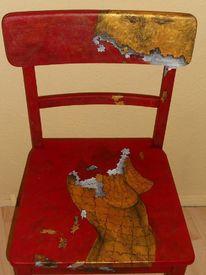 Bemalte stühle, Acrylmalerei, Mond, Bemalte möbel