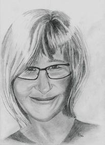 Portrait, Zeichnung, Brille, Freundin